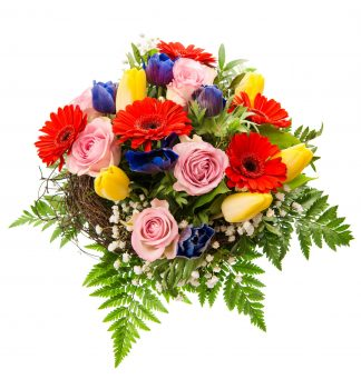 Colourful Bunch of Roses, Gerberas and Tulips