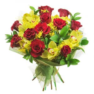 Red roses meet orchids