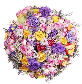 Ramo Grande de Lisianthus, Rosas mini, Rosas, Margaritas, Flor de cera y Limonium.