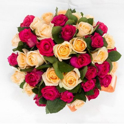 50 Roses in salmon and fuchsia